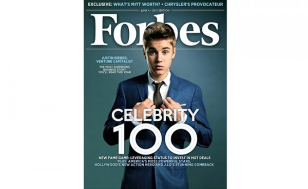 Justin Bieber, named &#8220;Venture Capitalist&#8221; on the Forbes Celebrity 100