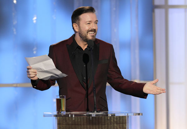 Ricky Gervais 'Hands Reins' to Tina Fey and Amy Poehler