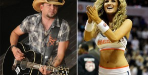 Jason Aldean in concert, and the woman he was snapped kissing at an L.A. bar Brittany Kerr cheering at a Charlotte Bobcats game. Photos: Getty