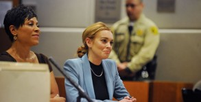 Lindsay Lohan attends her probation hearing with attorney Shawn Chapman Holley in March 2012, Photo: Getty