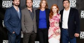 "Kathryn Bigelow (middle) posing with the cast of her new film ""Zero Dark Thirty."" (Photo: Getty)"