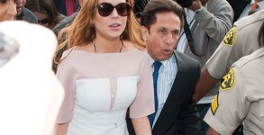 Lindsay Lohan arrives to court on Monday, March 18. Photo: Getty