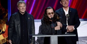 Rush inducted into the Rock N' Roll Hall of Fame. Photo: Getty