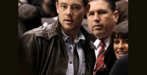 Cory Monteith and Lea Michele pictured at the Vancouver Canucks Vs. Los Angeles Kings game at the Staples Center on March 23, 2013. Photo: Getty