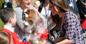 Catherine, Duchess of Cambridge, is presented with a gift for her dog Lupo as she meets the school dog Henry on a visit to The Willows Primary School in Manchester to launch a new school counselling program. 