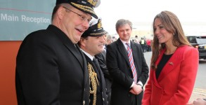 Duchess Kate is greeted by Rear-Admiral Simon Robert Lister and Commander Steve Garrett on a visit the Astute-class Submarine Building at BAE Systems on April 5, 2013 in Barrow-in-Furness. Photo: Getty