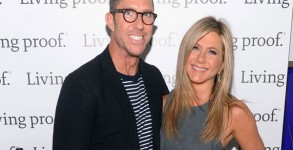 Jennifer Aniston poses with her longtime hair stylist Chris McMillan at the launch of Living Proof Good Hair Day Web Series. (Photo by Jamie McCarthy/Getty Images for Living Proof)