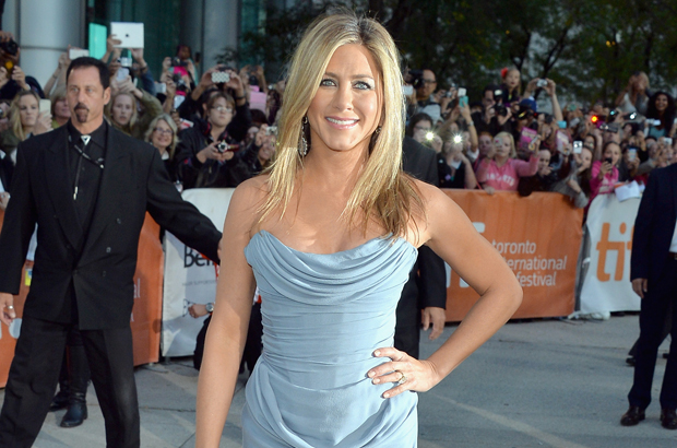 "Jennifer Aniston is stunning in a strapless Vivienne Westwood number at the TIFF ""Life Of Crime"" premiere at Roy Thomson Hall. 