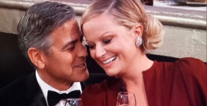 George Clooney and Amy Poehler canoodling at the 70th annual Golden Globes in 2013.