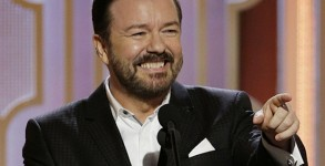 BEVERLY HILLS, CA - JANUARY 10:  In this handout photo provided by NBCUniversal,  Host Ricky Gervais speaks onstage during the 73rd Annual Golden Globe Awards at The Beverly Hilton Hotel on January 10, 2016 in Beverly Hills, California.  (Photo by
