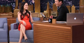 THE TONIGHT SHOW STARRING JIMMY FALLON -- Episode 400 -- Pictured: (l-r) Actress Lucy Liu during an interview with host Jimmy Fallon on January 14, 2016 -- (Photo by: