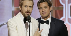 BEVERLY HILLS, CA - JANUARY 10: In this handout photo provided by NBCUniversal,  Presenters Ryan Gosling and Brad Pitt speak onstage during the 73rd Annual Golden Globe Awards at The Beverly Hilton Hotel on January 10, 2016 in Beverly Hills, California.  (Photo by