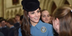 LONDON, ENGLAND - FEBRUARY 07:  Catherine, Duchess of Cambridge arrives to the service of the 75th Anniversary of the RAF Air Cadets at St Clement Danes Church on February 7, 2016 in London, England.  (Photo by)