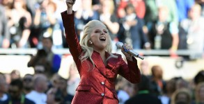 Lady Gaga performs the American National Anthem prior to the start of Super Bowl 50 between the Carolina Panthers and the Denver Broncos at Levi's Stadium in Santa Clara, California, February 7, 2016. / AFP / TIMOTHY A. CLARY        (Photo credit should read )