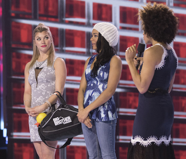 Fake Evictees Kelsey and Loveita with Host Arisa Cox