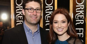 NEW YORK, NY - OCTOBER 03:  Screenwriter Michael Koman and actress  Ellie Kemper attends the 2015 New Yorker Festival ìWrap Partyî hosted by David Remnick at the top of the Standard Hotel, 848 Washington Street, on October 3, 2015 in New York City.  (Photo by  for The New Yorker)