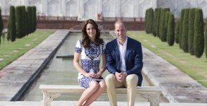 AGRA, INDIA - APRIL 16:  Prince William, Duke of Cambridge and Catherine, Duchess of Cambridge sit in front of the Taj Mahal during day seven of the royal tour of India and Bhutan on April 16, 2016 in Agra, India. This is the last engagement of the Royal couple after a week long visit to India and Bhutan that has taken them in cities such as Mumbai, Delhi, Kaziranga, Thimphu and Agra.  (Photo by