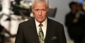"""STUDIO CITY, CA - MARCH 26:  Alex Trebek appears onstage during """"Hot In Cleveland"""" LIVE! at the CBS Studio Center on March 26, 2014 in Studio City, California.  (Photo by for TV Land)"""