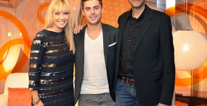 Cheryl Hickey is joined by Zac Efron and director Ramin in our Festival Central Lounge. Photo: Chandra Price